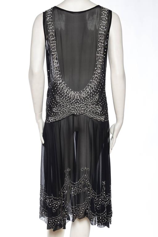 Women's Sheer Silk Chiffon 1920s Dress Beaded with Crystals For Sale
