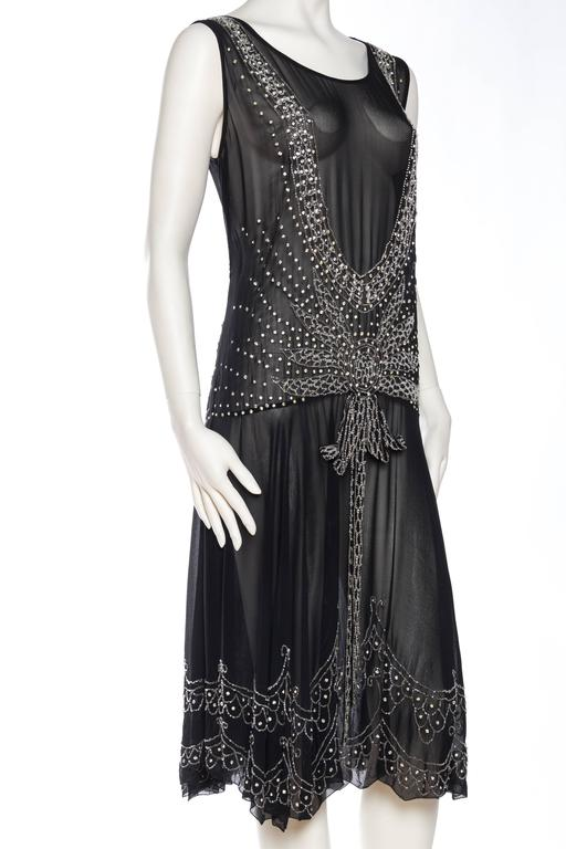 Black Sheer Silk Chiffon 1920s Dress Beaded with Crystals For Sale