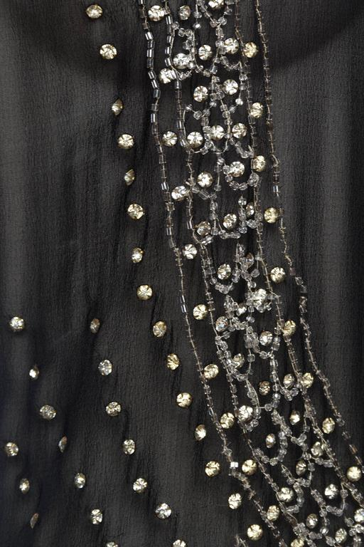 Sheer Silk Chiffon 1920s Dress Beaded with Crystals For Sale 5