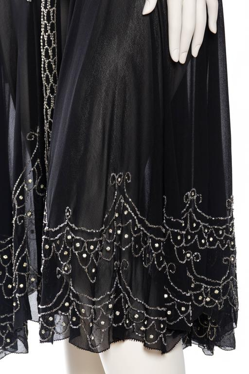 Sheer Silk Chiffon 1920s Dress Beaded with Crystals For Sale 2