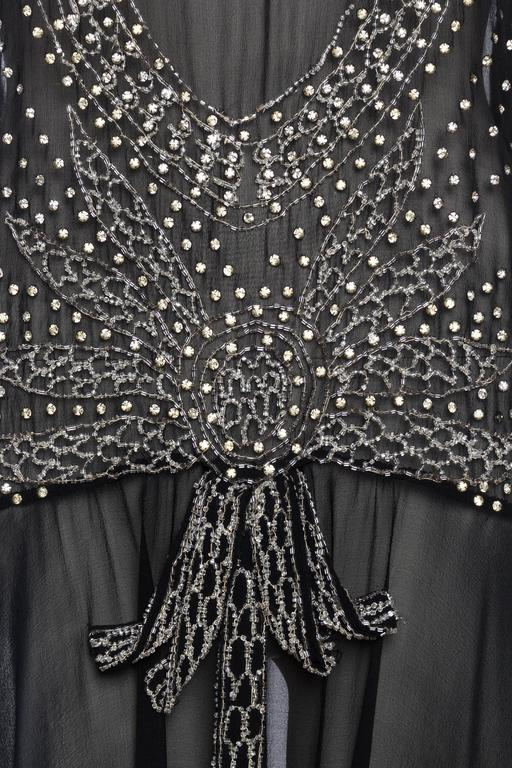 Sheer Silk Chiffon 1920s Dress Beaded with Crystals For Sale 3