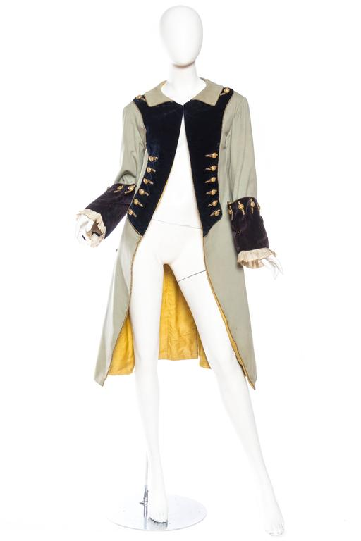 This is a costume piece form the Victorian era in the style of a late 18th century mens frock coat.