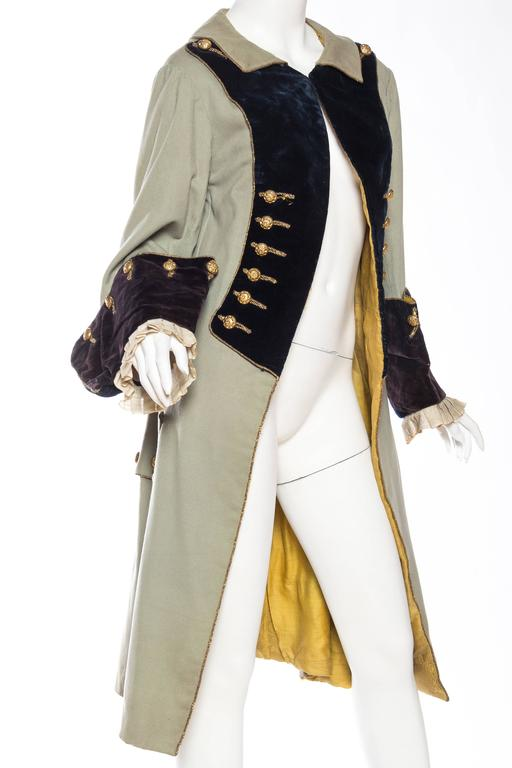 Beige 18th Century Style Victorian Era Frock Coat For Sale