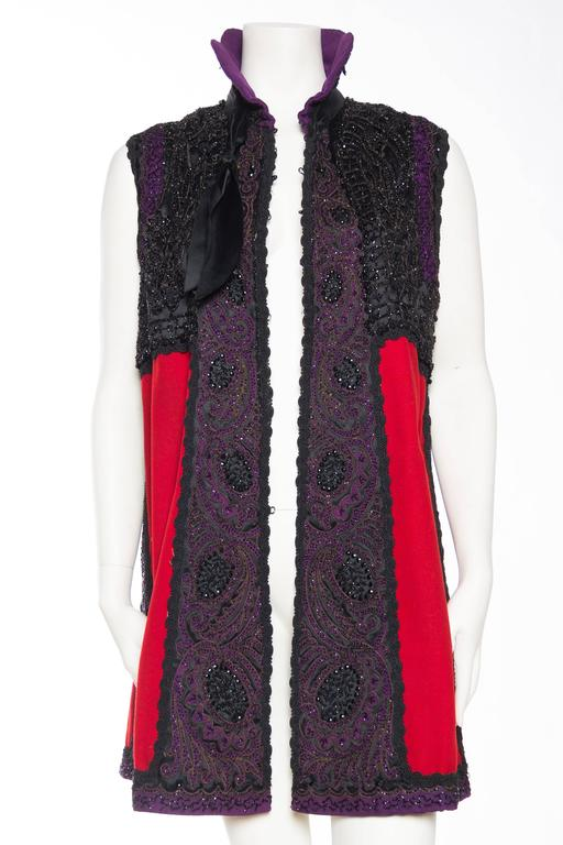 Victorian Beaded and Embroidered Mantle Coat Vest In Good Condition For Sale In New York, NY