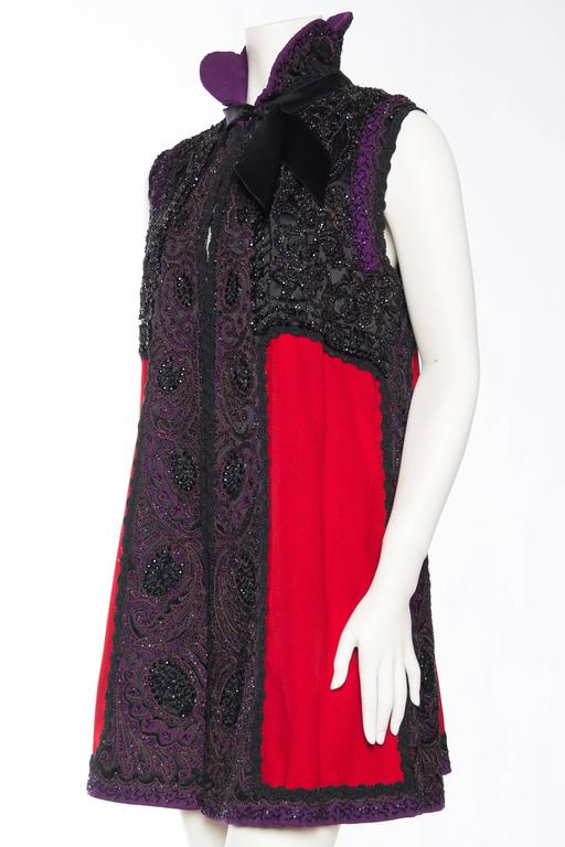 Victorian Beaded and Embroidered Mantle Coat Vest For Sale 1