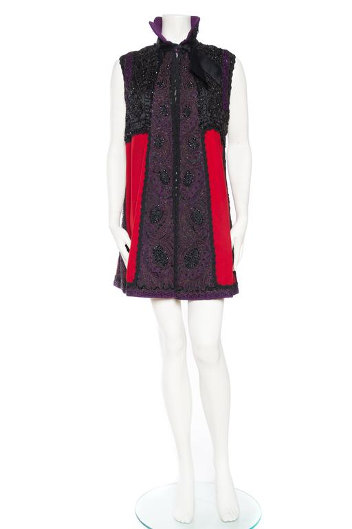 Black Victorian Beaded and Embroidered Mantle Coat Vest For Sale