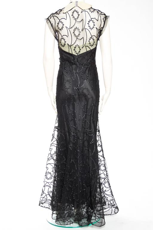 1930s Embroidered Sheer Net Gown with Bias Lining For Sale 1