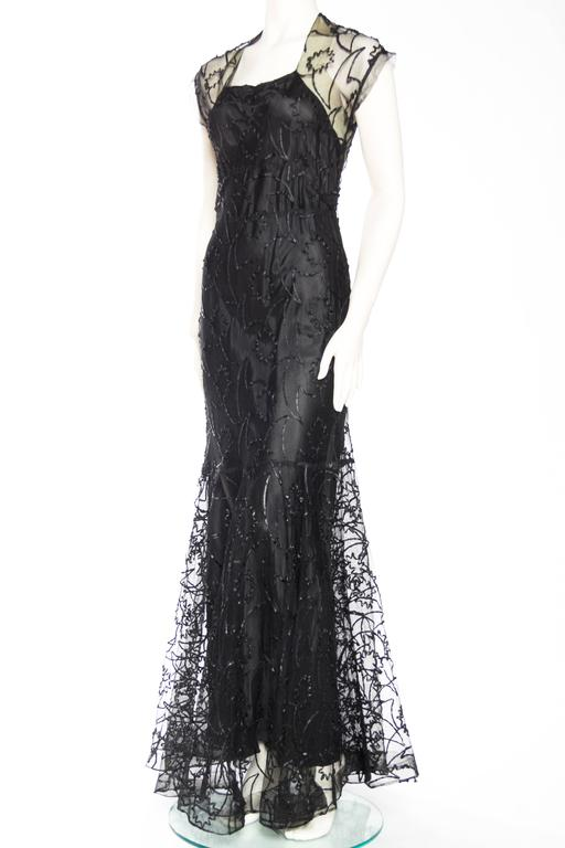 Women's 1930s Embroidered Sheer Net Gown with Bias Lining For Sale