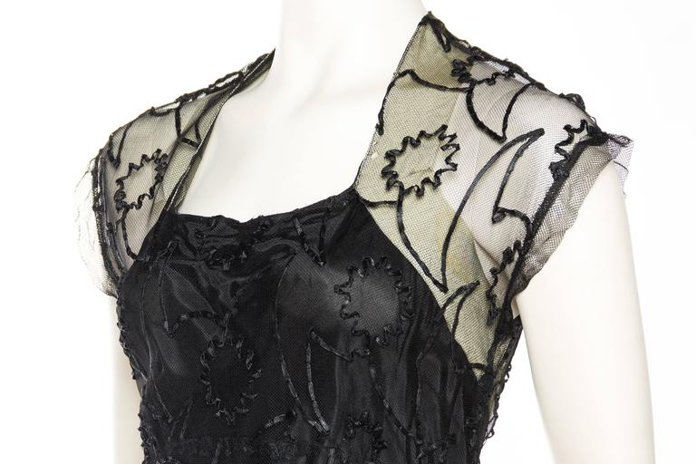 1930s Embroidered Sheer Net Gown with Bias Lining For Sale 2