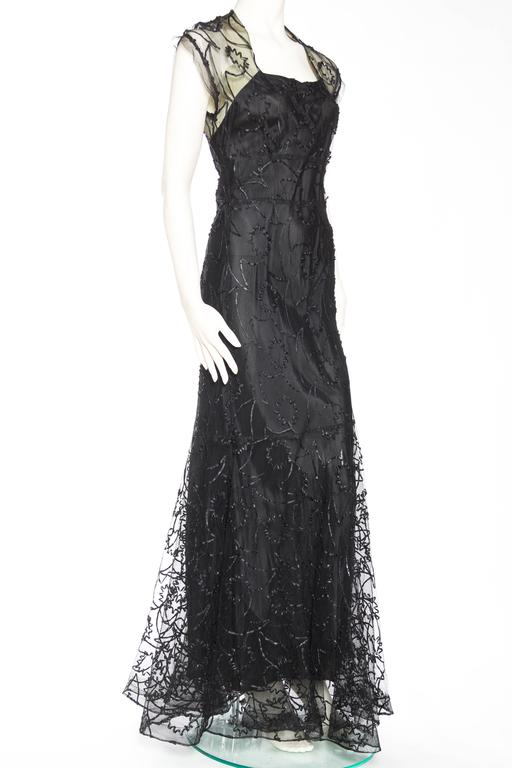 1930s Embroidered Sheer Net Gown with Bias Lining In Good Condition For Sale In New York, NY