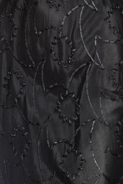 1930s Embroidered Sheer Net Gown with Bias Lining For Sale 4
