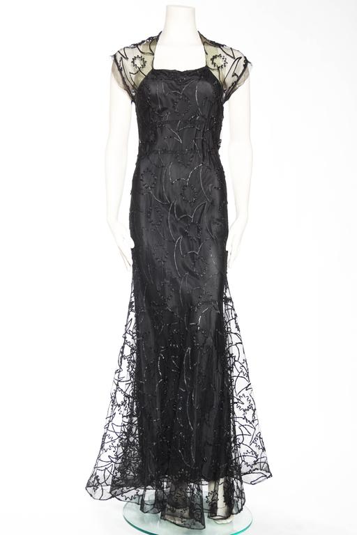 Black 1930s Embroidered Sheer Net Gown with Bias Lining For Sale