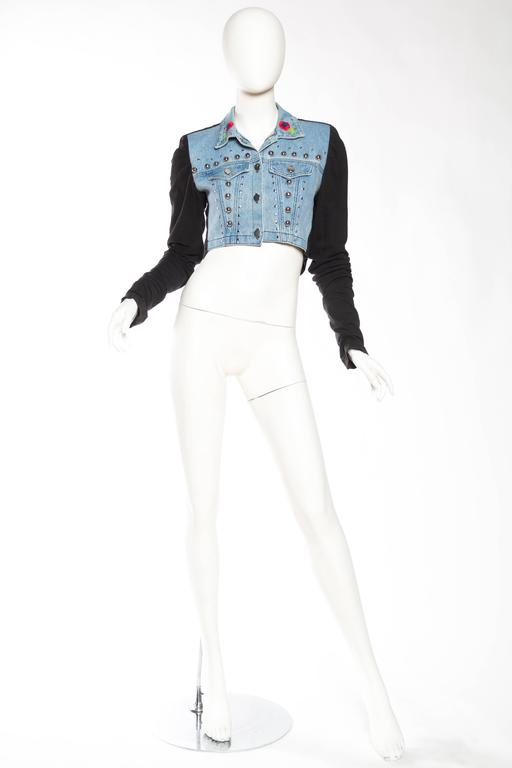 Gucci Style Studded Denim Jacket With Dramatic Embellished Back For
