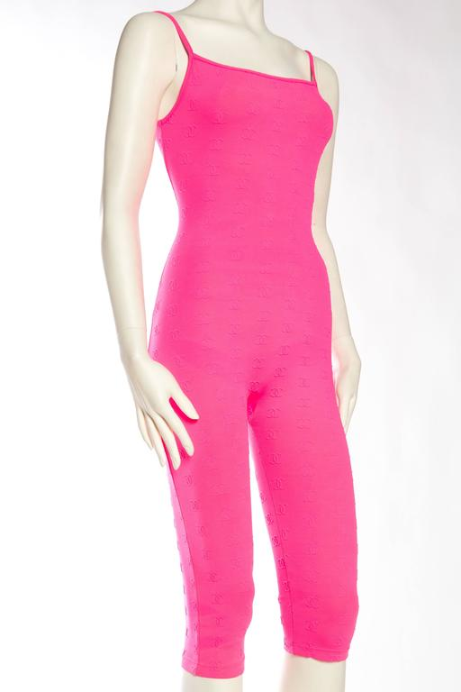 1990s Hot Pink Chanel Logo Bodysuit 4