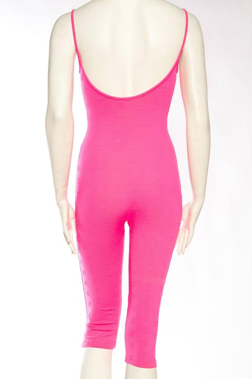 1990s Hot Pink Chanel Logo Bodysuit 6