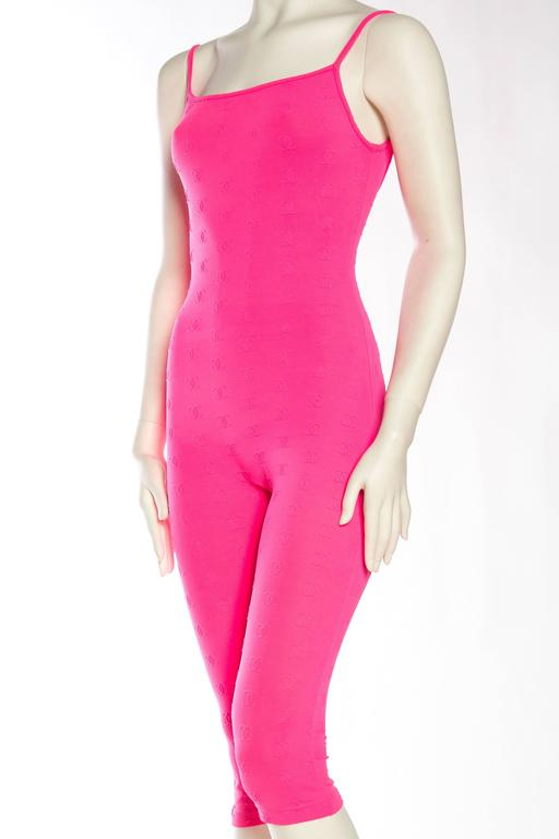 1990s Hot Pink Chanel Logo Bodysuit 5
