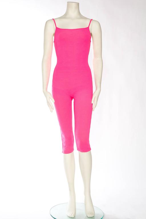 1990s Hot Pink Chanel Logo Bodysuit 3