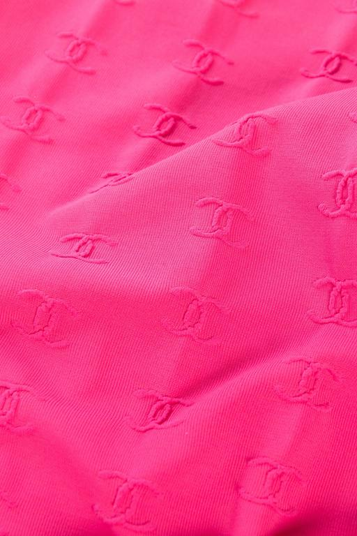 1990s Hot Pink Chanel Logo Bodysuit 9