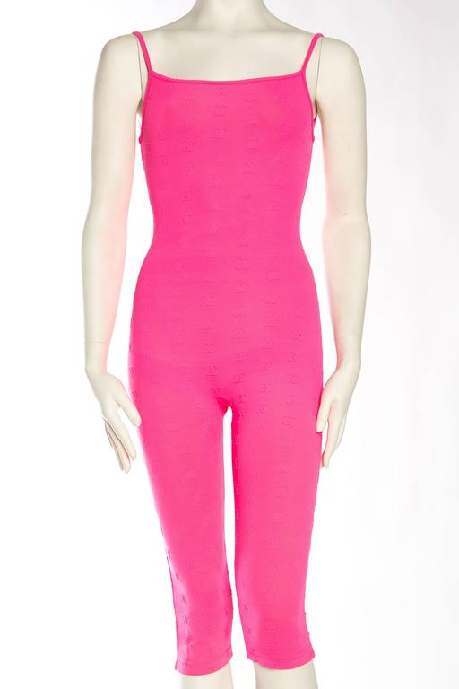 1990s Hot Pink Chanel Logo Bodysuit 2