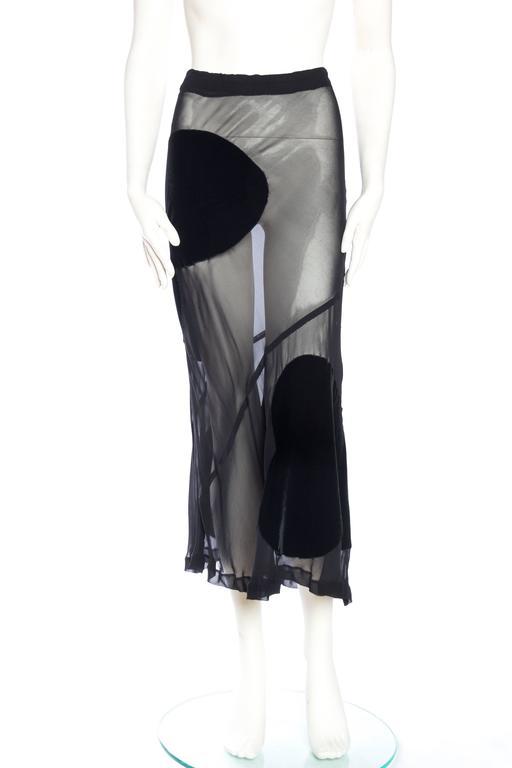 Black Comme Des Garcons Bias Cut Chiffon and Velvet Skirt For Sale