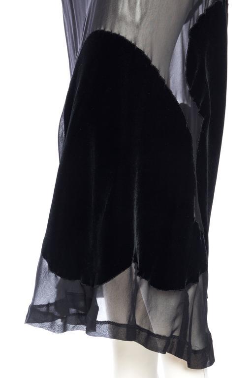 Comme Des Garcons Bias Cut Chiffon and Velvet Skirt For Sale 4