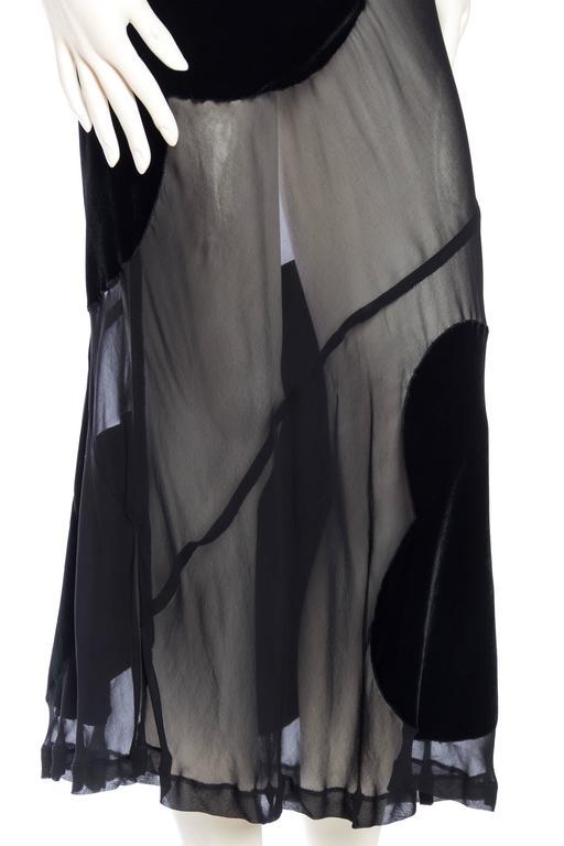 Comme Des Garcons Bias Cut Chiffon and Velvet Skirt For Sale 3