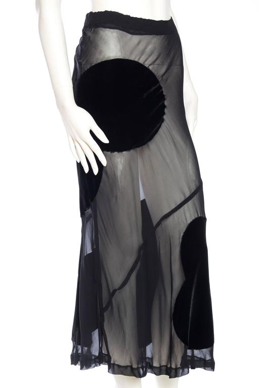 Comme Des Garcons Bias Cut Chiffon and Velvet Skirt In Excellent Condition For Sale In New York, NY