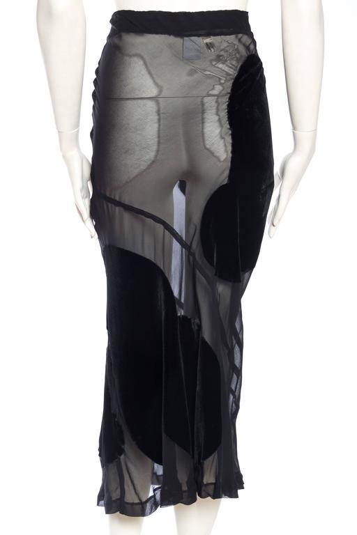 Comme Des Garcons Bias Cut Chiffon and Velvet Skirt For Sale 1