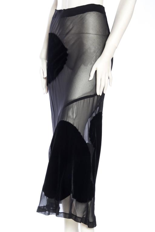 Women's Comme Des Garcons Bias Cut Chiffon and Velvet Skirt For Sale