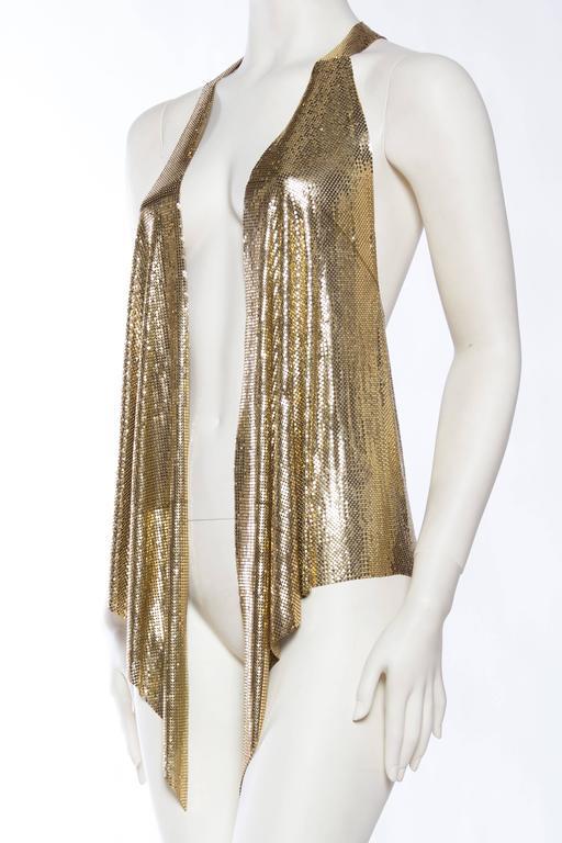 Women's Slinky Gold Metal Mesh Vest For Sale