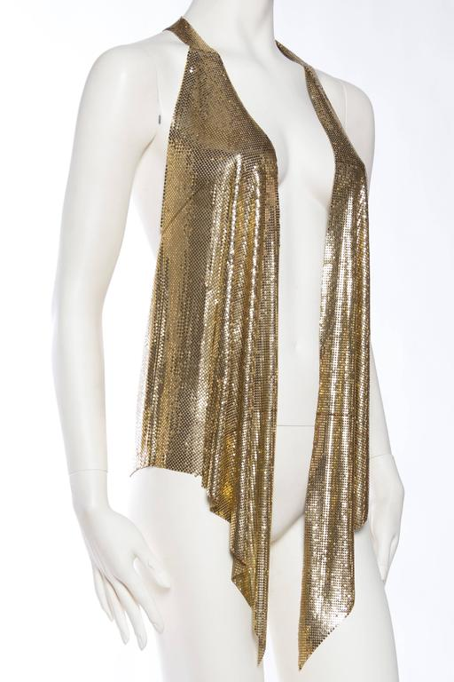 Slinky Gold Metal Mesh Vest In Good Condition For Sale In New York, NY