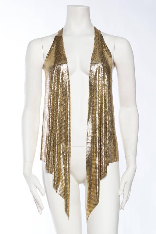 Brown Slinky Gold Metal Mesh Vest For Sale