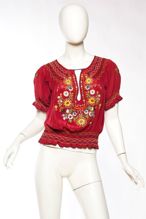 Beautiful Vintage Hand Embroidered Silk Bohemian Blouse 2