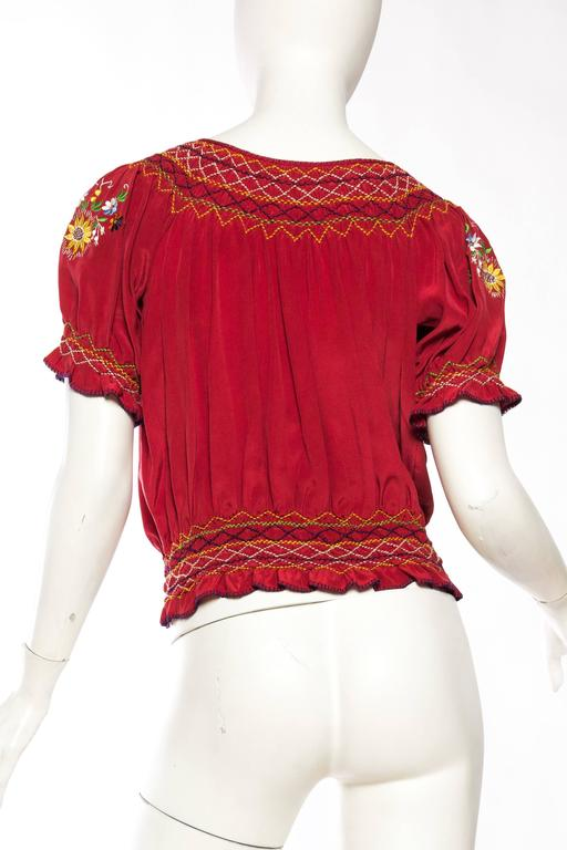 Beautiful Vintage Hand Embroidered Silk Bohemian Blouse 5