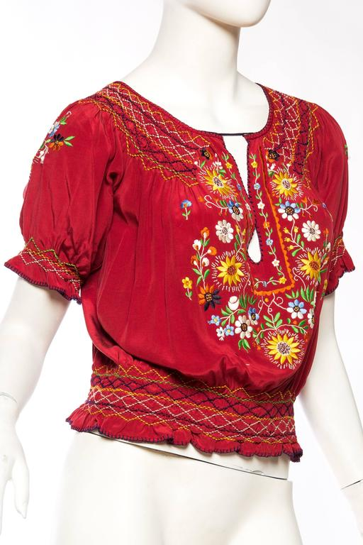 Beautiful Vintage Hand Embroidered Silk Bohemian Blouse 3