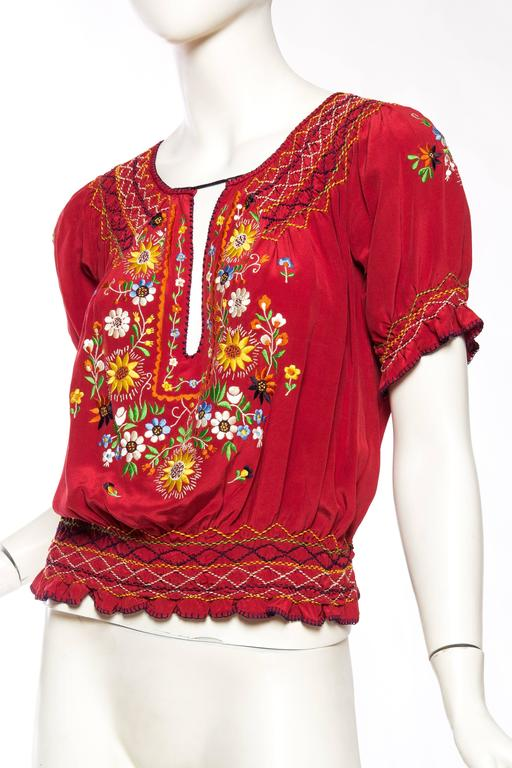 Beautiful Vintage Hand Embroidered Silk Bohemian Blouse 4