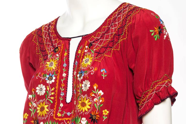 Beautiful Vintage Hand Embroidered Silk Bohemian Blouse 7