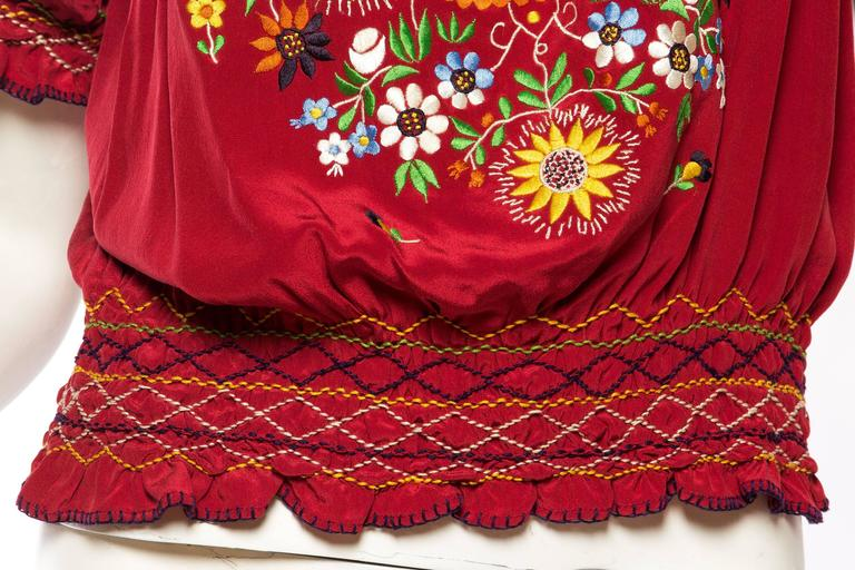 Beautiful Vintage Hand Embroidered Silk Bohemian Blouse 10