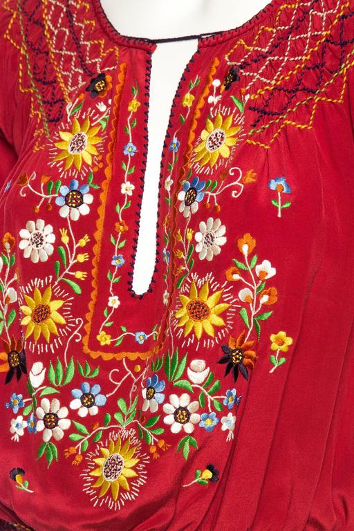 Beautiful Vintage Hand Embroidered Silk Bohemian Blouse 9