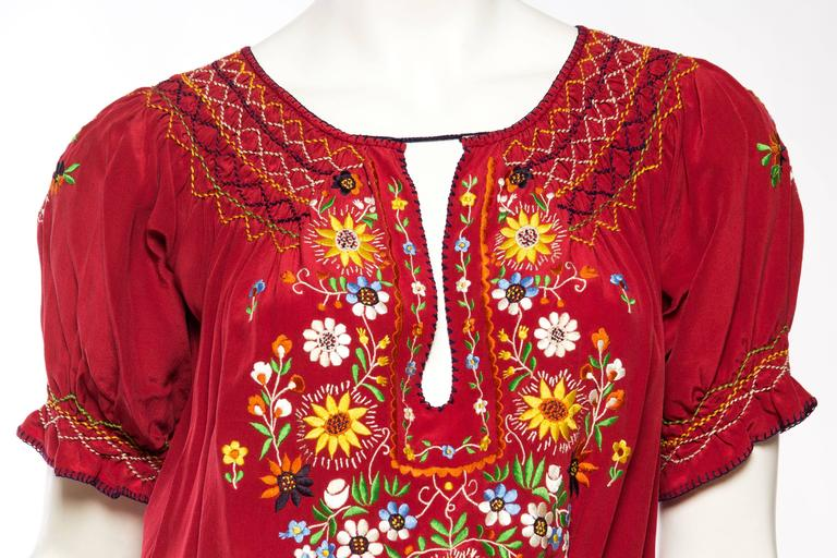 Beautiful Vintage Hand Embroidered Silk Bohemian Blouse 6