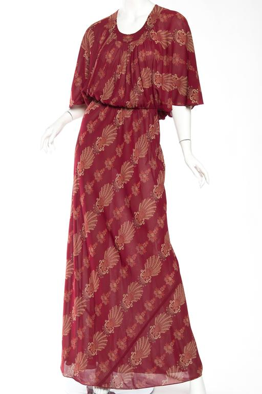 1970s Italian Silk Chiffon Boho Dress At 1stdibs