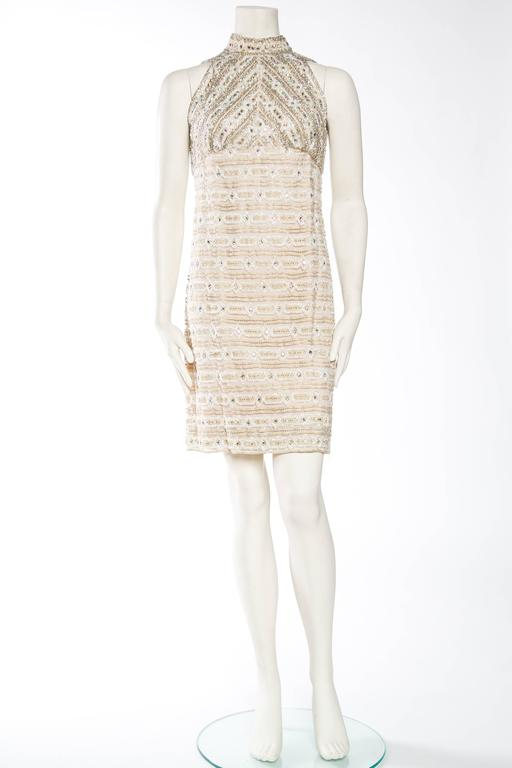 Women's 1960s Crystal Encrusted Gold Lace Dress For Sale