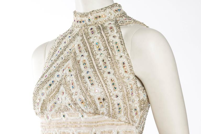 1960s Crystal Encrusted Gold Lace Dress For Sale 4