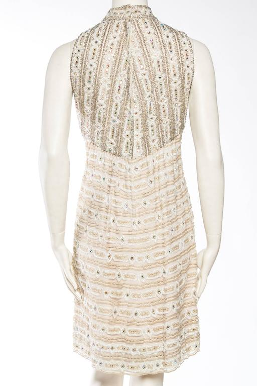 1960s Crystal Encrusted Gold Lace Dress For Sale 3