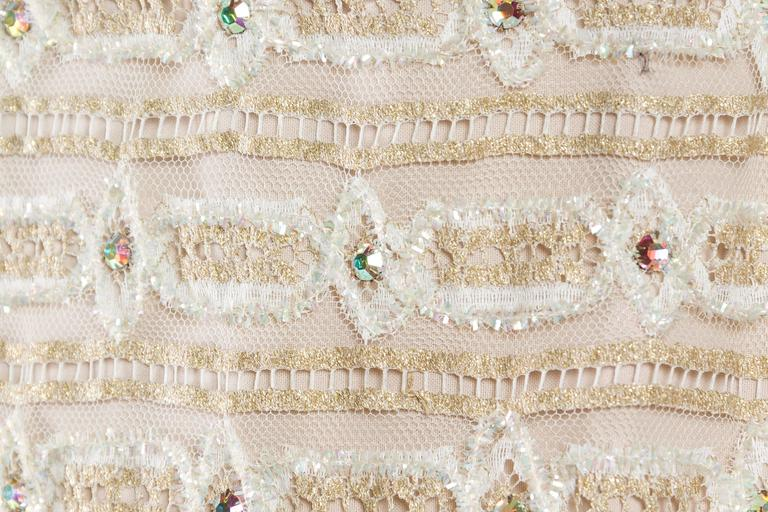 1960s Crystal Encrusted Gold Lace Dress For Sale 6