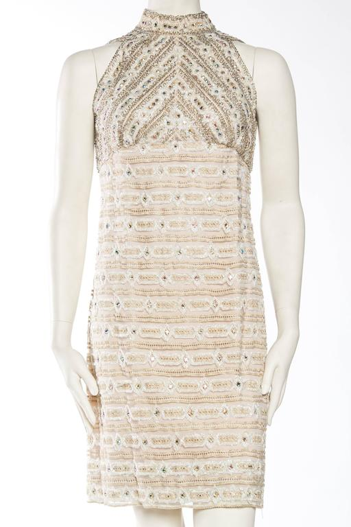 1960s Crystal Encrusted Gold Lace Dress In Good Condition For Sale In New York, NY