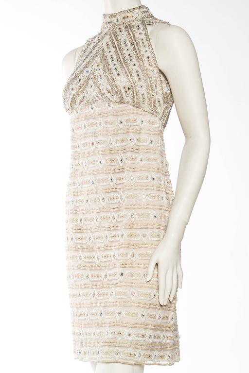 1960s Crystal Encrusted Gold Lace Dress For Sale 2