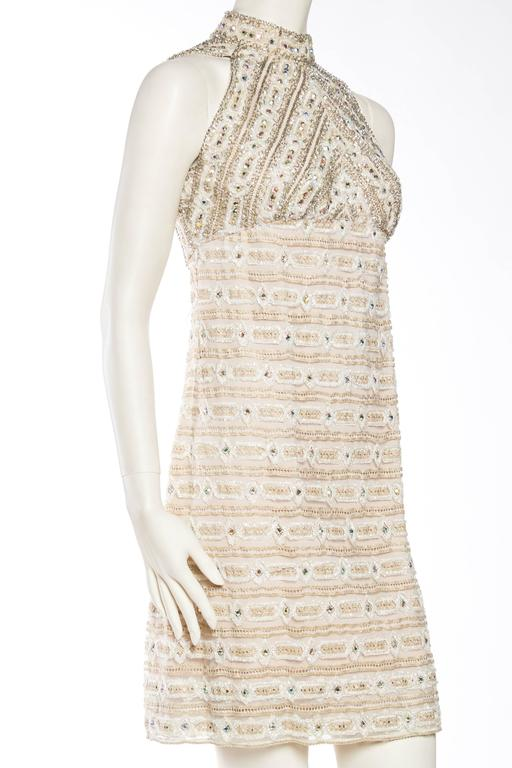 1960s Crystal Encrusted Gold Lace Dress For Sale 1
