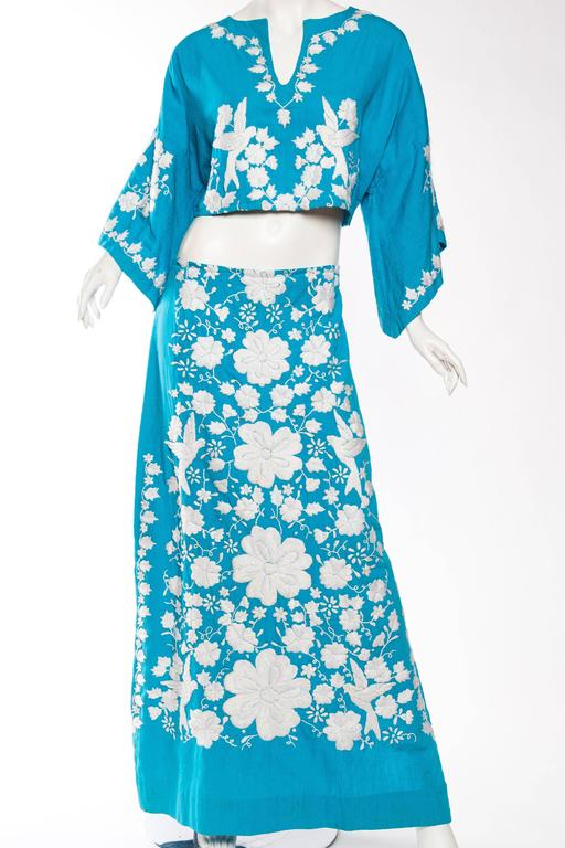 Blue Mexican Embroidered Two Piece Ensemble For Sale