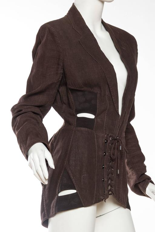 1990s Jean Paul Gaultier Linen Corset Blazer In Good Condition For Sale In New York, NY